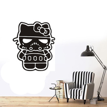 POOMOO Wall Decor Hello Kitty Storm Trooper Vinyl Decal Sticker Florescent Pink Chrome star wars(China)