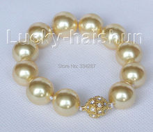 "8"" 16mm round golden seashell pearls Bracelet magnet clasp"