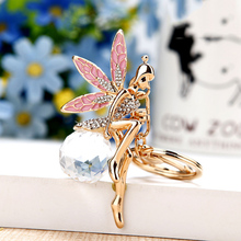 Buy Rhinestones angel Keychain creative Metal Key Chain Flower Fairy Pendants Car Key Ring Fashion Gift Bag Charm Accessories K1686 for $3.38 in AliExpress store