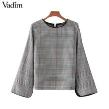 Vadim women elegant plaid shirt houndstooth split sleeve o neck loose blouse vintage autumn fashion casual tops blusas LT2201(China)