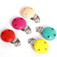1pc Safe Wooden Baby Pacifier Clip Holder Infant Children Cute Round Nipple Clasps For Baby Product LA872876