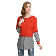 Primavera nuevas mujeres falso de dos t-shirt algodón o-cuello manga larga  costura raya Tops mujer casual algodón negro naranja . 16fa95bba16