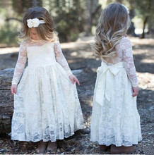 Girls Party Dress Kids 2017 Lace Sweet Long Dress For Age 3-10Y Toddler Girl Princess Wedding Prom Gown Bow Long Sleeved Dress
