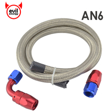 evil energy AN6 Double Stainless Steel Braided Hose Oil Fuel Hose 1M+AN6 Straight Hose End 90 Degree Swivel Oil Fittings Adapter