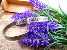 "stainless steel Cuff bracelet ""set goal smash repeat "" for women Handmade bangle inspirational jewelry gift china import goods"