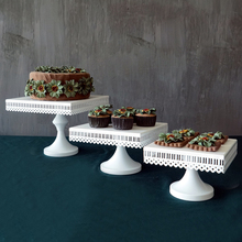 white square wedding party cupcake and Openwork lace metal cake stand Free shipping