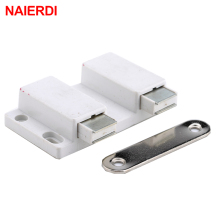 NAIERDI Double Magnetic Cabinet Catch Kitchen Door Stopper Drawer Soft Close Square Push to Open Touch For Furniture Hardware(China)
