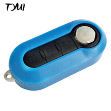 Blue Blank Keys For Car Fiat 500 Flip Remote Key Replacements Fob Case(China)
