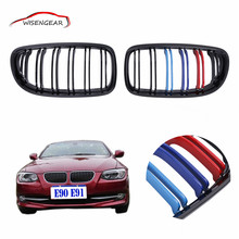 Gloss Black M-color Dual Slat Front Kidney Grille Grill  For BMW E90 E91 LCI 325i 328i 335i 4-DOOR 2009 2010 2011 C/5