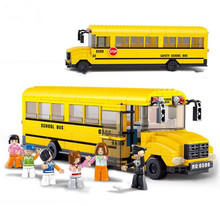 Classic Yellow School Bus Model City Car trucks Building Blocks Toys for Children Compatible With Bricks Gift(China)