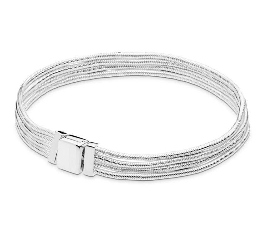 Original 925 Sterling Silver Bracelet Reflexions Multi-Chain Pan Bracelet & Bangle Fit Women Bead Charm Diy Europe Jewelry