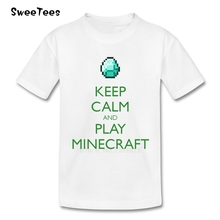 Keep Calm And Play Minecraft children's toddler 100% Cotton boy girl 2017 T-shirt Crew Neck kid Tops baby T Shirt infant Tshirt(China)