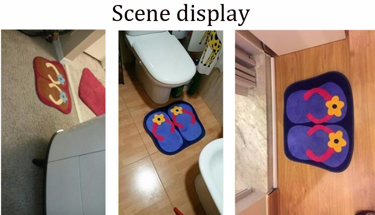 Cartoon Originality SlipperFlower Pattern Nonslip Doormat BlueRed - Faience cuisine et energetics tapis de course