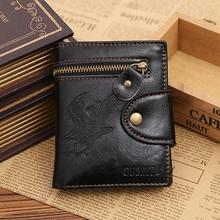 NewNew Fahsion Leather Card Cash Receipt Holder Eagle Pattern Vertical Wallet Black Men's Wallets Casual High Quality Purse
