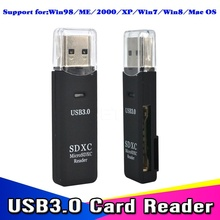 1pcs Antiseismic USB 3.0 Micro SDXC SD TF Memory Card Reader Adapter SD/MicroSD/TF Transflash Card USB3.0 High-Speed