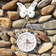 Unique Gift  Retro Metal handwork Home decorative Rotated Antique Wall clock vintage Butterfly clock