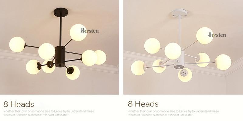 Horsten Nordic Creative Magic Bean Pendant Lights 6812 Heads Glass Ball Pendant Lamp For Living Dining Room Cafe Restaurant E27 (12)