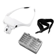 Interchangeable 5 Pcs Lenses Magnifier Headband 1.0X/1.5X/2.0X/2.5X/3.5X Magnifying Glasses Magnifier Headband 2LED Head Lamps(China)