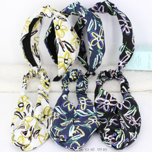 3pcs/lot Colored Flowers Hair Bands For Girls Floral Print Headbands Stretchy Twisted Turban Headwrap Hair Accessories For Women(China)