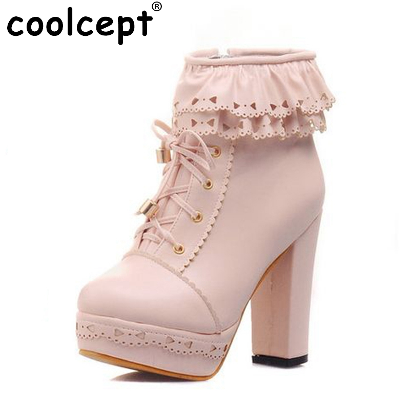 Coolcept ladies high heel sexy boots women lace half short botas warm winter boot fashion heels footwear shoes P20450 size 34-43<br>