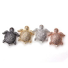 1pc 18*20mm Micro Pave Crystal Tortoise Charms Pendant Cute Copper Turtle Spacer Beads DIY Jewelry Accessories(China)