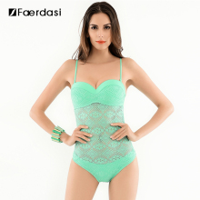 2017 Hot Solid Push-up Swimwear Mesh Covered-up Adjuster Straps Swimsuit One Piece Sexy and Lovely Women Bathing Suit FD81605