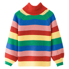 Kenancy Rainbow Colorful Stripe Print Women Casual Sweaters Autumn Fashion Turtleneck Knitwear Loose Pullovers Jumper Pull Femme(China)