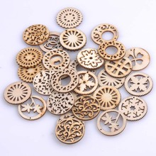 Mixed Pattern Natrual Wooden Scrapbooking Craft Round Random for Home Decoration 30mm 50pcs MT0692