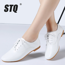 STQ 2017 Autumn women oxford shoes ballerina flats shoes women genuine leather shoes moccasins lace up loafers white shoes 051