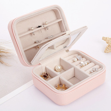 PU Fashion Jewelry Mini Storage Box Earrings Necklace 3 layers Removable Organizer Case with Make-up mirror for Travel Storage(China)