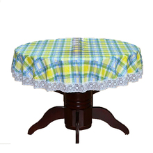 PVC Pastoral round table cloth waterproof Oilproof non wash plastic pad plus velvet anti hot coffee tablecloth 137cm #4