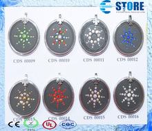 In Stock!!10Pcs Lava Quantum Scalar Energy Pendant with Colorful Crystal Stainless Steel circle!!Free Shipping!!