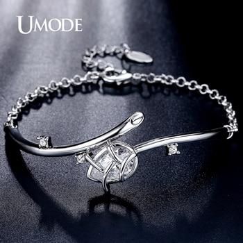 Umode moda tulipán 3.44ct bileklik pear cut cz diamante simulado oro blanco plateado pulseras de la joyería para las mujeres pulseiras ub0090