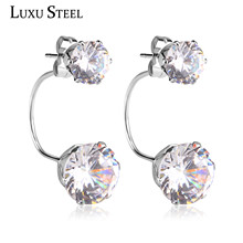LUXUSTEEL Luxury Zircon Australian Crystal Stainless Steel Stud Earrings Hypoallergenic Fashion Jewelry(China)