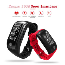 Zeepin S908 GPS Smartband Heart Rate Monitor Sedentary Reminder Pedometer IP68 Waterproof Sport Smart Wristband for Androis IOS