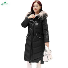 Winter new women cotton Outerwear long hair collar cotton jacket female large size fashion Slim cotton coat clothing OKXGNZ Q942