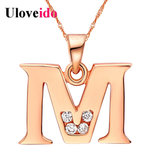 Letter A B C D E F G H I J K L M N O P Q I S T U V W X Y Z Necklaces for Men/Women Rose Gold Color Uloveido Fashion Jewelry(China)