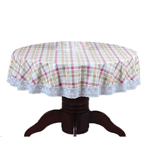 PVC Pastoral round table cloth waterproof Oilproof non wash plastic pad plus velvet anti hot coffee tablecloth 152cm #12