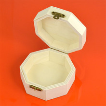 Mini Wooden Octagonal Jewelry Box Mud Big Base Art Decor Children Kid Baby DIY Wood Crafts Toys