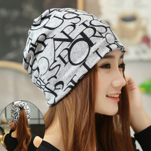 Autumn winter high quality lover couple alphabet cap multifunction dual purpose turban scarf outdoor cap pregnant women cap(China)