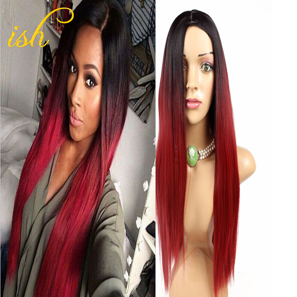 Ombre Wig Long   Red with Dark Roots Skin Top Wig Straight Top Quality New Hairstyles Trends For 2016<br><br>Aliexpress