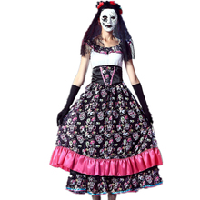 Day of the Dead Spanish Lady Girls Costume Ghost Bride Skull Print Dress Weid Party Dressing Costume for women(China)