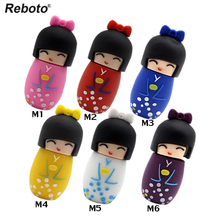Reboto cute u disk Japanese dolls kimono girl usb flash pen drive 4gb 8gb 16gb 32gb 64gb dolls flash usb memory stick pen drive(China)