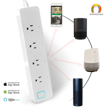 Wholesale IOT Smart WiFi Power Strip Surge Protector 4 Outlet Wireless Power Extension Socket Works with Amazon Alexa Echo