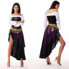 Indian Belly Dance Sexy Gypsy Costume Halloween cosplay purple Stage Performance Clothing Polo Dance Costumes Free Shipping