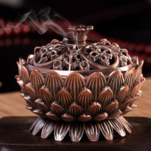 2016 New Arrival Copper Lotus Incense Burner Alloy Mini Tibetan Incense Burner Sandalwood Censer Home Decor(China)