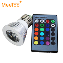 3W RGB Bulb Lamp 16Colors Changing 110V 220V Magic Stage DJ Disco Lights Dimmable Led Lampada IR Controller In E27 E14 GU10 MR16