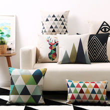 Nordic Geometric Triangles Plaids Stripes Art Cushion Covers Deer Bear Elephant Flamingo Cushion Cover Beige Linen Pillow Case(China)