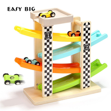 EASY BIG Wooden Cars Toys For Boys With Magic Track Hot Wheels Kids Toys TH0022(China)