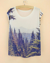 mountain forest dusk 3D printed sale big size cheap promotion tee 2015 cotton creative design stylish women's tops(China)